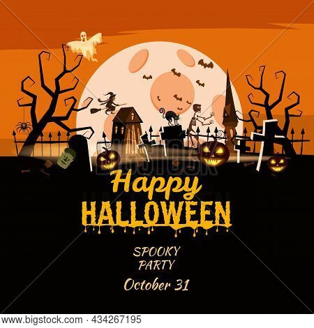 Happy Halloween Poster, Scary Smiles Pumpkins, Night Cemetery, Haunted House, Ghost, Witch, Black Ca