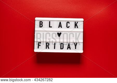 Black Friday Sale Word On Lightbox On A Red Background