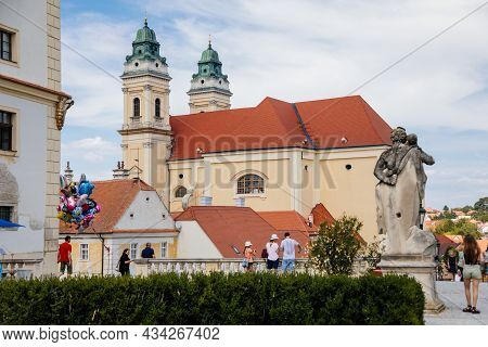 Valtice, Southern Moravia, Czech Republic, 04 July 2021: Baroque Church Of The Assumption Of The Vir