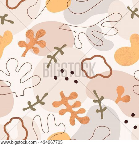 Abstract Seamless Pattern With Organic Shapes. Endless Repeating Texture With Modern Print. Repeatab