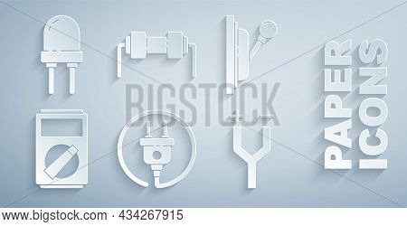 Set Electric Plug, Electrical Panel, Multimeter, Cable, Resistor Electricity And Light Emitting Diod