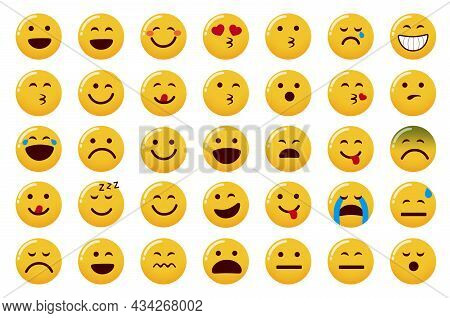 Emoticon Emojis Vector Set. Emoji Face Icon With Smiling, In Love And Laughing Facial Expressions Is