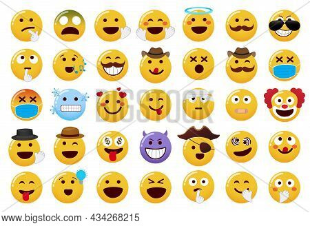 Emoticon Emojis Vector Set. Emoji Characters With Hand And Hat Elements In Funny And Cute Facial Exp