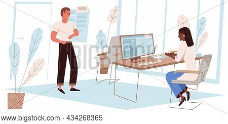 Medical Clinic Concept In Flat Design. Patient Talks With Doctor In Office, Therapist Enters Data Of