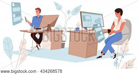 Browse Social Network Concept In Flat Design. Employees Uses Smartphones, Looks At Friends Photos, L