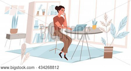 Freelance Working Concept In Flat Design. Woman Working On Laptop, Making Call, Sitting At Desks In