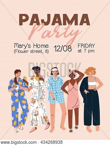 Pajama Party Invitation On Flyer. Poster Design Inviting To Pyjama Home Event With Women In Sleepwea