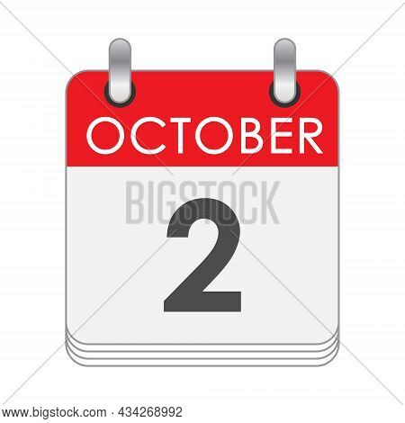 October 2. A Leaf Of The Flip Calendar With The Date Of October 2. Flat Style.