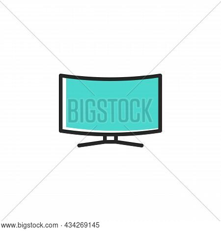Curved Tv Screen Line Icon. Lcd Television Linear Style Sign For Mobile Concept And Web Design. 4k M