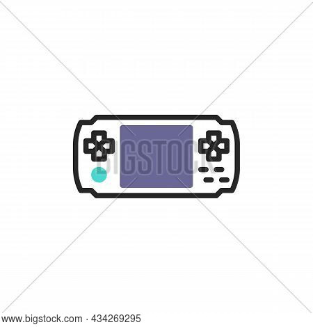 Handheld Console Line Icon. Linear Style Sign For Mobile Concept And Web Design. Gamepad Console Out