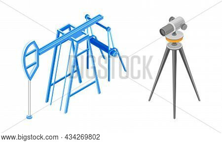 Professional Lasers Level On Tripod And Oil Pump Set Vector Illustration