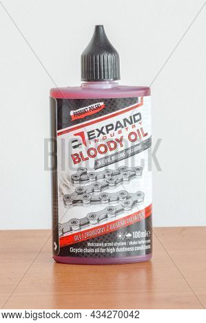 Pruszcz Gdanski, Poland - July 8, 2021: Expand Industry Bloody Oil, Bicycle Chain Oil For High Dusti