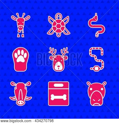 Set Deer Head With Antlers, Dog Bone, Hippo Or Hippopotamus, Worm, Wild Boar, Paw Print, Snake And G