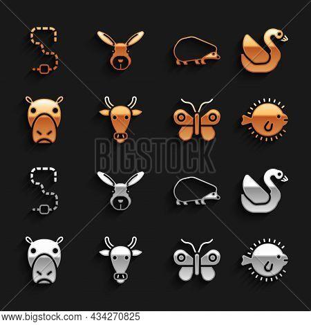 Set Cow Head, Swan Bird, Puffer Fish, Butterfly, Hippo Or Hippopotamus, Hedgehog, Worm And Rabbit Ic