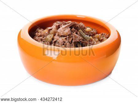 Wet Pet Food In Orange Feeding Bowl Isolated On White