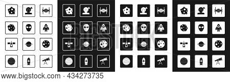 Set Cosmic Ship, Alien, Asteroid, Rocket, Astronomical Observatory, Planet Mars And Satellite Icon.