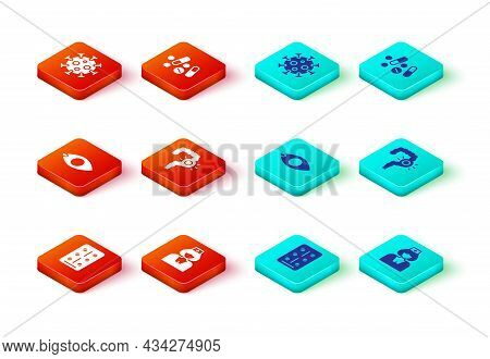 Set Pills In Blister Pack, Nurse, Blindness, Gut Constipation, Medicine Pill Or Tablet And Virus Ico