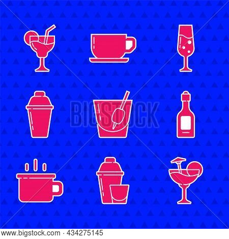 Set Cocktail Bloody Mary, Shaker, Champagne Bottle, Coffee Cup, Glass Champagne And Icon. Vector