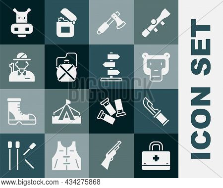 Set First Aid Kit, Hunter Knife, Monkey, Wooden Axe, Canteen Water Bottle, Hippo Or Hippopotamus And