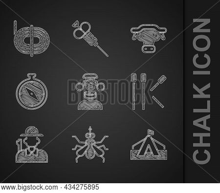 Set African Tribe Male, Mosquito, Tourist Tent, Matches, Hunter, Compass, Buffalo Head And Climber R