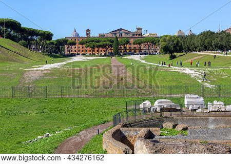 Rome, Italy - October 8, 2020: View Of The Remains Of The Circus Maximus (circo Massimo), Chariot Ra