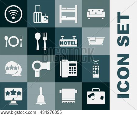 Set Suitcase, Remote Control, Bathtub, Hotel Room Bed, Fork And Spoon, Plate, Fork Knife, Wi-fi Wire