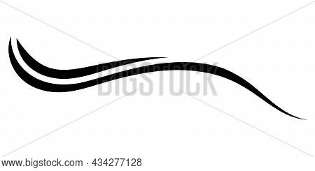 Curved Calligraphy Line, Sea Wave Calligraphy Vector Element, Elegantly Curved Ribbon Strip