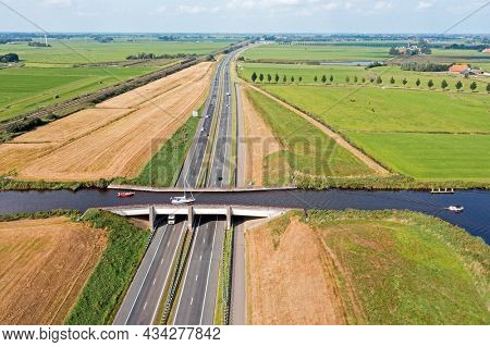 Aerial from Leppa Aquaduct in Friesland the Netherlands