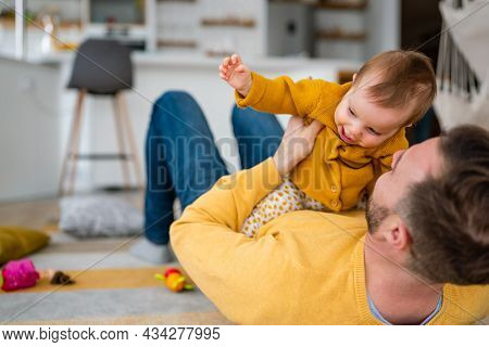 Daddy And His Little Girl Spending Time At Home. Single Dad Fun Love Family Lifestyle Concept