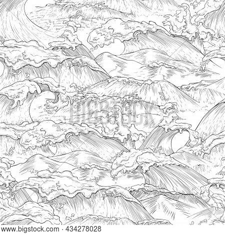 Seamless Pattern With Giant Sea Waves In Hand Drawn Style, Vector Illustration.