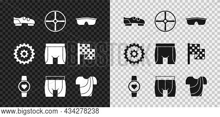 Set Bicycle Shoes, Wheel, Sport Cycling Sunglasses, Smart Watch, Cycling Shorts, T-shirt, Cassette A