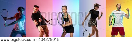 Collage Of Images Of Mixed Ages Sportsmen, Male And Female Tennis Players Posing Isolated Over Color