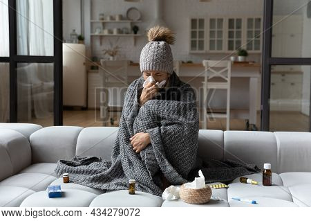 Unhealthy Woman Feel Sick Suffer From Flu At Home