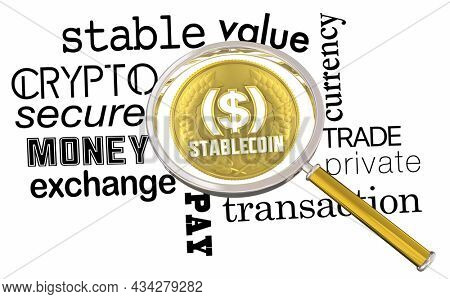 Stablecoin Crypto Currency New Digital Money Secure Payment Platform Magnifying Glass 3d Illustration