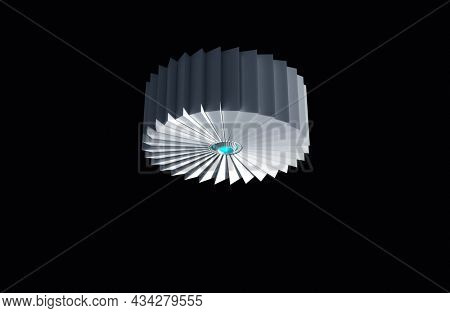 Cyber cutting wheel. Futuristic rotating cutting blade or wheel above, with blue glowing sensor like device in the middle. 3D illustration, 3D rendering.