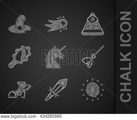 Set Unicorn, Medieval Sword, Magic Stone, Witches Broom, Hermes Sandal, Hand Mirror, Masons And Hat