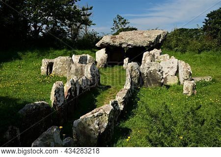 A View Of A Prehistoric Burial Tomb On The Channel Island Of Jersey