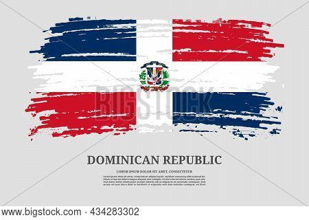 Dominican Republic Flag With Brush Stroke Effect And Information Text Poster, Vector