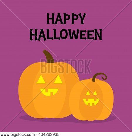 Happy Halloween. Two Pumpkin Set. Bones Text Font. Bone Letter Type. Funny Smiling Face. Glowing Eye