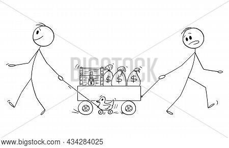 Person Cares About Money And Wealth, Wise Mad Man Enjoying The Life, Vector Cartoon Stick Figure Ill