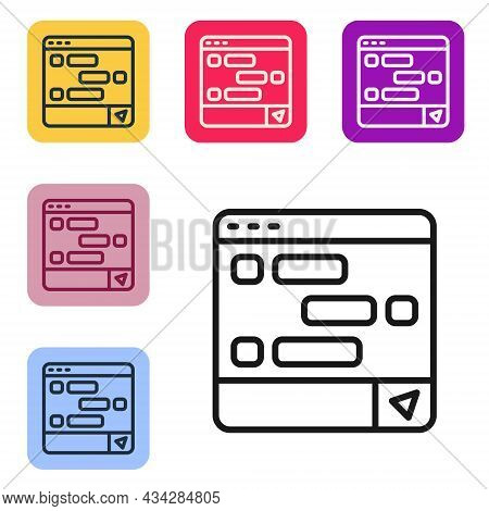 Black Line New Chat Messages Notification On Laptop Icon Isolated On White Background. Smartphone Ch