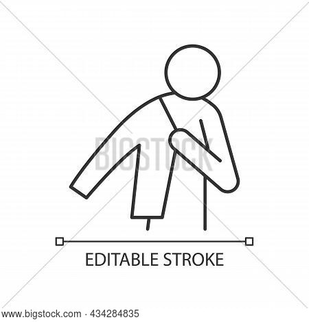 Dress Up Linear Icon. Person Putting On Jacket. Man Getting Ready To Go To Work. Wearing Clothes. Th
