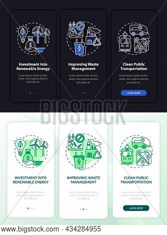Reduce Carbon Emissions Onboarding Mobile App Page Screen. Manage Waste Walkthrough 3 Steps Graphic