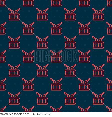 Red Line Drum With Drum Sticks Icon Isolated Seamless Pattern On Black Background. Music Sign. Music