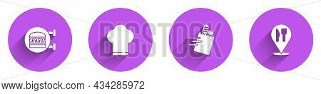 Set Online Ordering Burger Delivery, Chef Hat, And And Cafe Restaurant Location Icon With Long Shado
