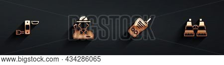 Set Swiss Army Knife, Hunter, Walkie Talkie And Binoculars Icon With Long Shadow. Vector
