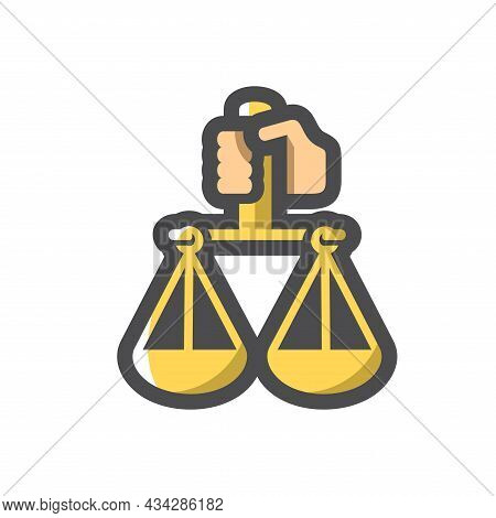 Hand With Justice Scales Vector Icon Cartoon Illustration.