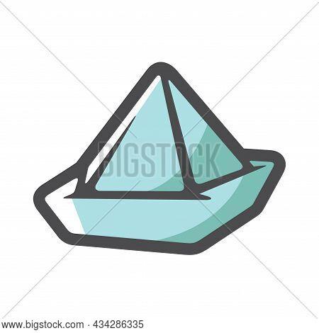 Paper Hat As Origami Handicraft Vector Icon Cartoon Illustration