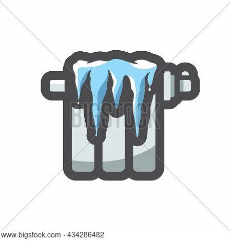 Radiator Heating With Ice No Heat Vector Icon Cartoon Illustration