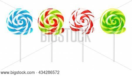 Spiral Lollipops. Realistic Different Colors Round Candies, Sucking Sweets, Swirling Striped Caramel